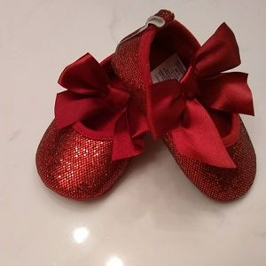 Baby Girl Red Glitter Crib Shoes 6-9 Months